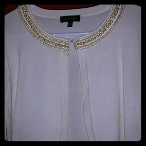 Faux Pearl Embellished Cream Sweater